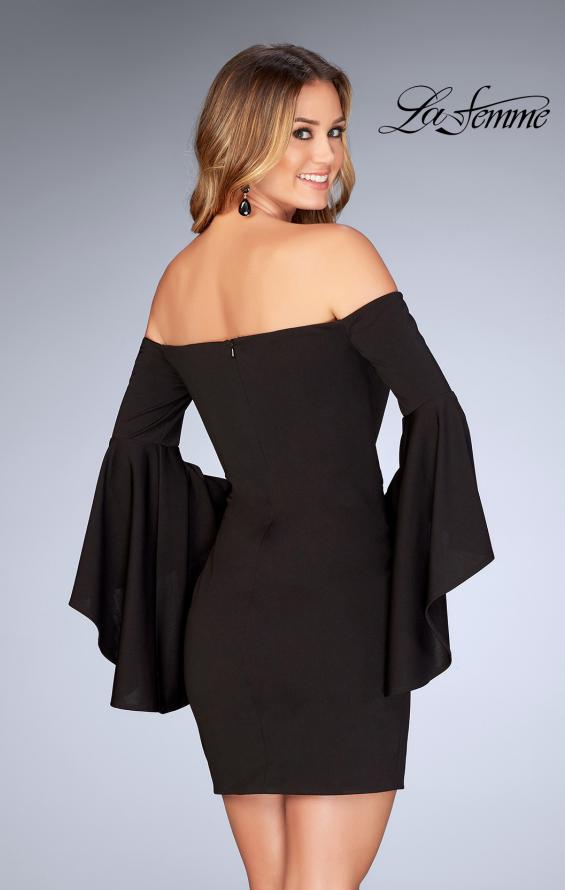 Picture of: Off the Shoulder Ruffle Sleeve Homecoming Dress in Black, Style: 25033, Back Picture