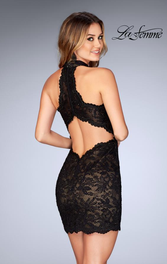 Picture of: Deep V Criss Cross Dress with Tight Lace Skirt in Black, Style: 25130, Back Picture