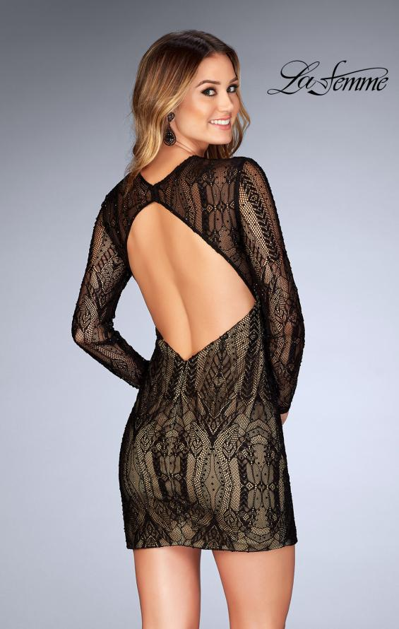 Picture of: Short Lace Dress with Long Sleeves and Open Back in Black, Style: 25289, Back Picture