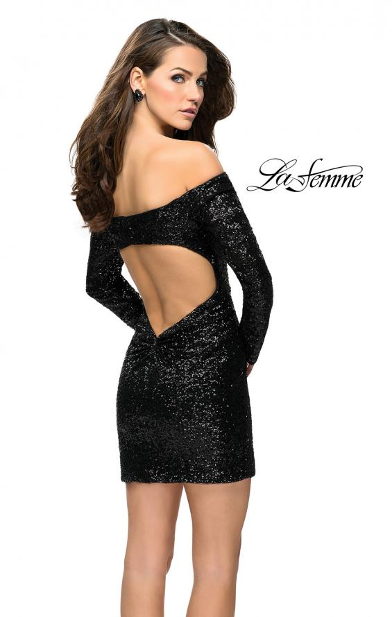 Picture of: Long Sleeve Sequined Off the Shoulder Homecoming Dress in Black, Style: 26662, Back Picture