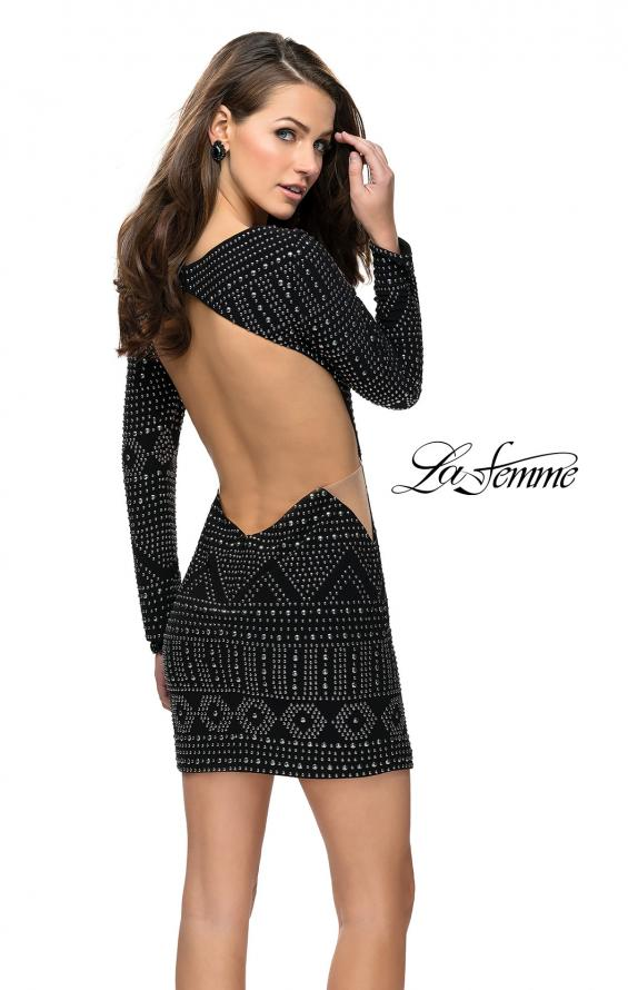 Picture of: Metallic Studded Homecoming Dress with Long Sleeves, Style: 26672, Back Picture