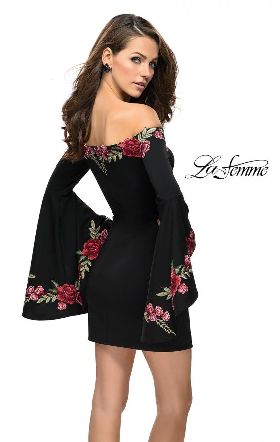Picture of: Off the Shoulder Mini Dress with Dramatic Bell Sleeves, Style: 26674, Back Picture