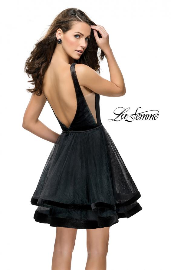 Picture of: Velvet and Tulle Two Piece Set with Pockets and Open Back in Black, Style: 26701, Back Picture