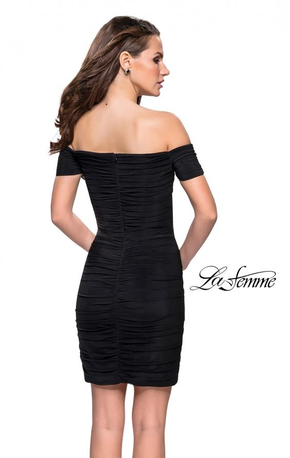 Picture of: Off the Shoulder Little Black Dress with Ruching in Black, Style: 26742, Back Picture