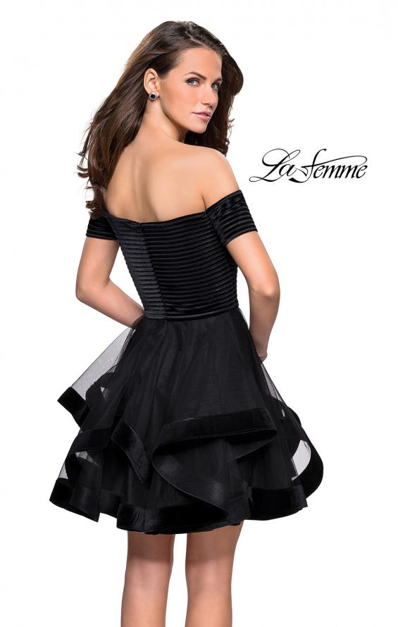 Picture of: Tulle Short Off the Shoulder Dress with Velvet Trim in Black, Style: 26751, Back Picture
