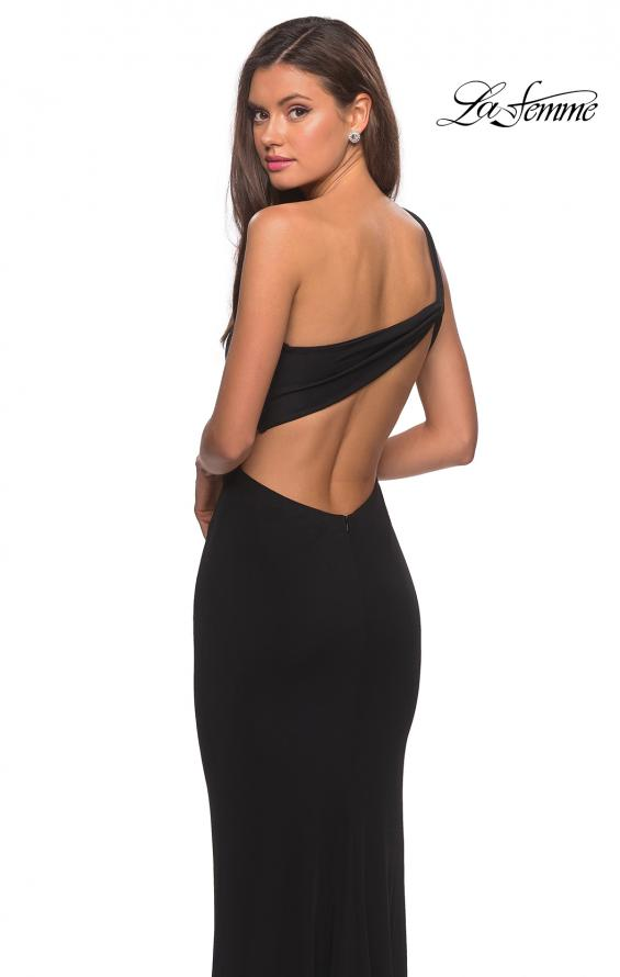 Picture of: One Shoulder Dress with Ruching and Leg Slit in Black, Style: 28135, Back Picture