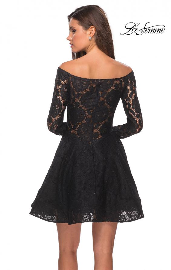 Picture of: Short Lace Dress with Off The Shoulder Long Sleeves in Black, Style: 28175, Back Picture