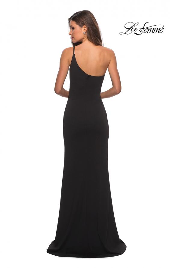 Picture of: One Shoulder Long Jersey Homecoming Dress in Black, Style: 28176, Back Picture