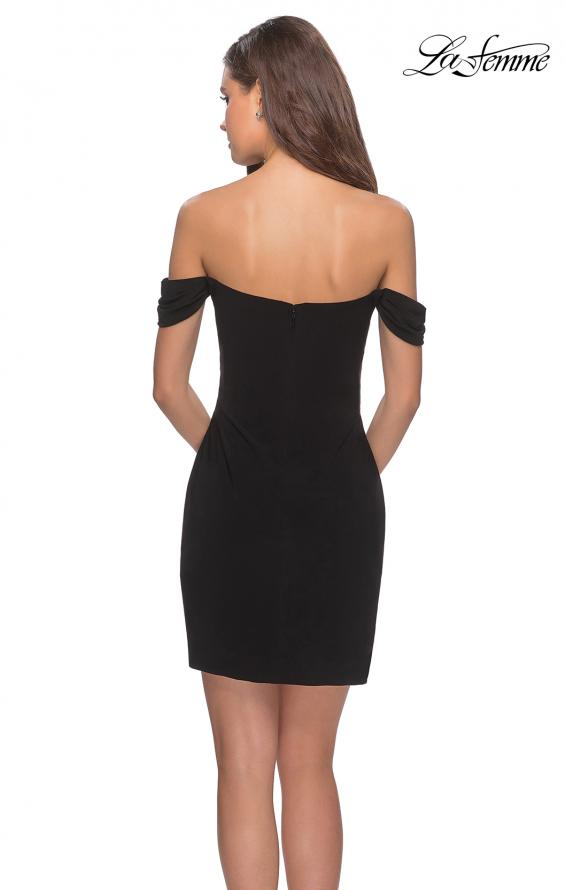 Picture of: Short Dress with Scalloped Off The Shoulder Sleeves in Black, Style: 28193, Back Picture