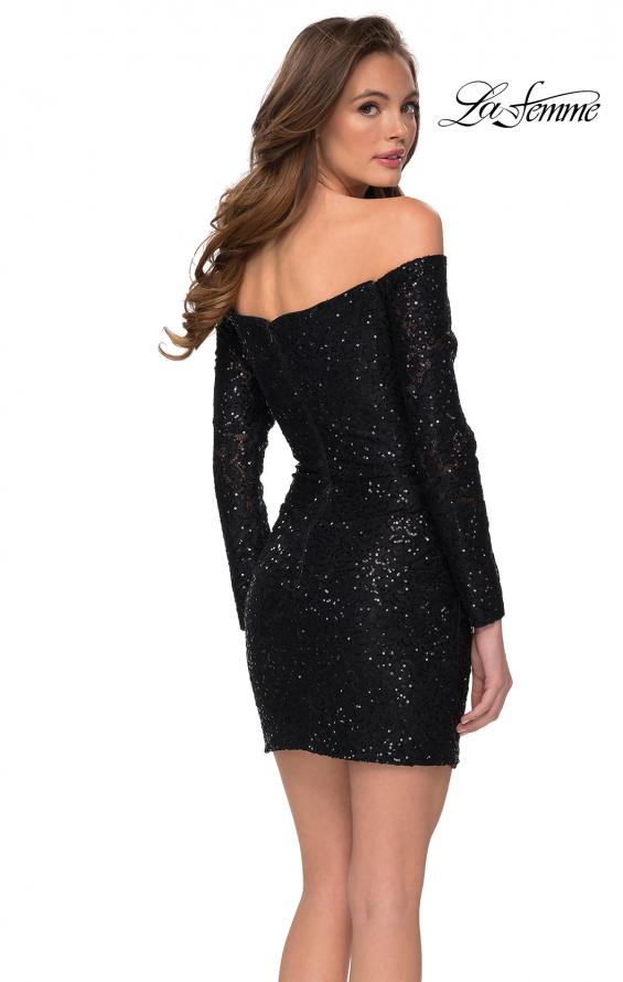 Picture of: Long Sleeve Off the Shoulder Sequin Short Dress in Black, Style: 29339, Back Picture