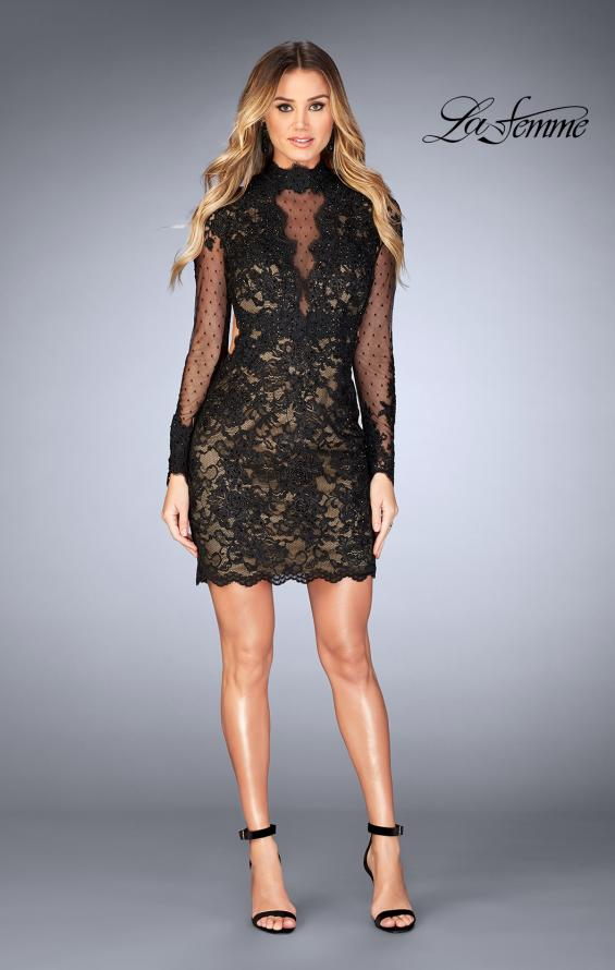 Picture of: Short Lace Dress with Sheer Scalloped Neckline, Style: 25121, Detail Picture 1