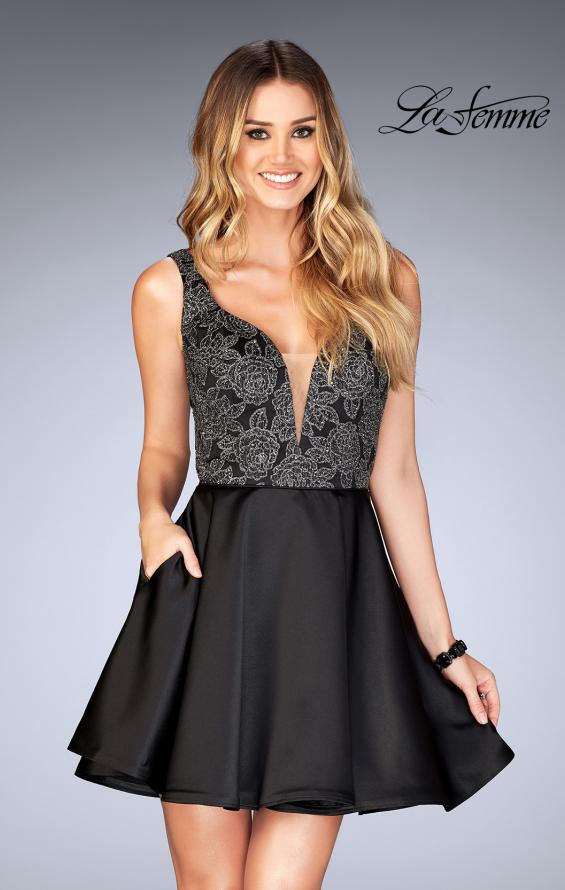 Picture of: Short Satin Homecoming Dress with Cut Outs in Black, Style: 25132, Detail Picture 1