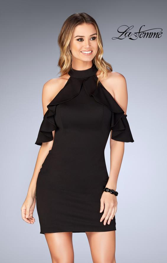 Picture of: Ruffle Halter Top Dress with Tight Jersey Skirt, Style: 25147, Detail Picture 1