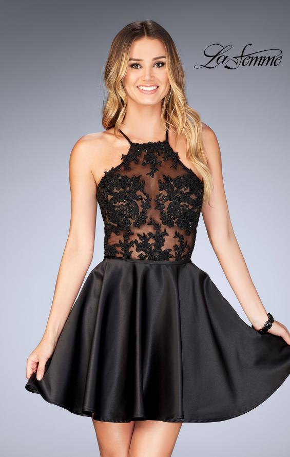 Picture of: Sheer Illusion Dress with Scattered Lace and Short Skirt in Black, Style: 25202, Detail Picture 1