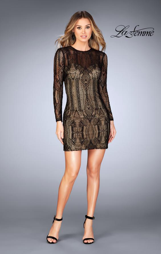 Picture of: Short Lace Dress with Long Sleeves and Open Back in Black, Style: 25289, Detail Picture 1