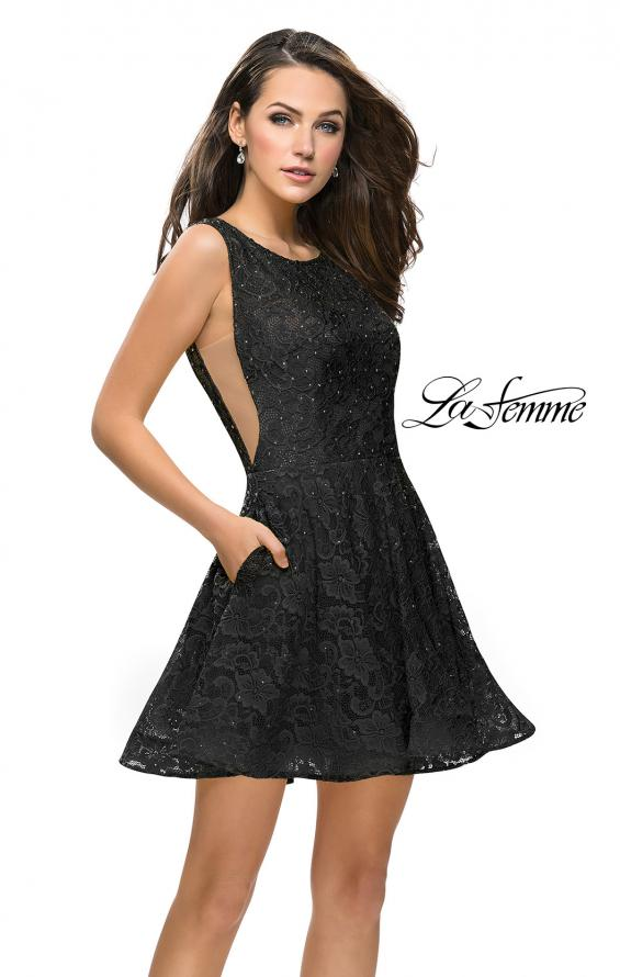 Picture of: Lace Short Dress with Rhinestones and Pockets in Black, Style: 26616