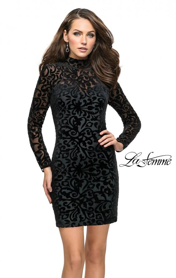 Picture of: Velvet Black Homecoming Dress with Burnout Detail, Style: 26631, Detail Picture 1