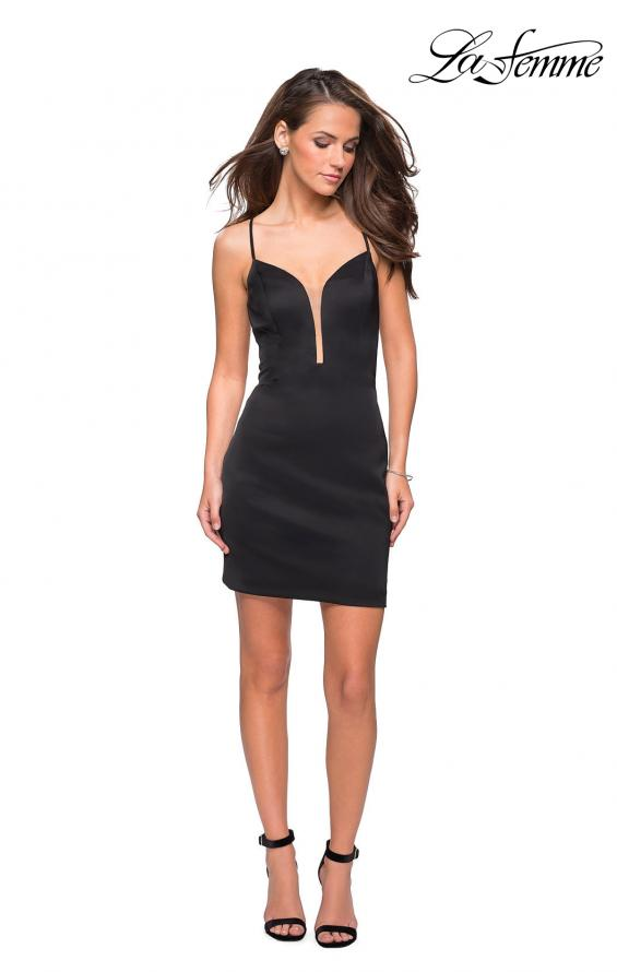 Picture of: Form Fitting Homecoming Dress with Strappy Open Back in Black, Style: 26638, Detail Picture 1