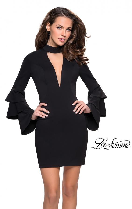 Picture of: Short Homecoming Dress with Tiered Bell Sleeves in Black, Style: 26639, Detail Picture 1