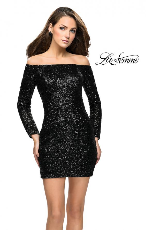 Picture of: Long Sleeve Sequined Off the Shoulder Homecoming Dress in Black, Style: 26662, Detail Picture 1