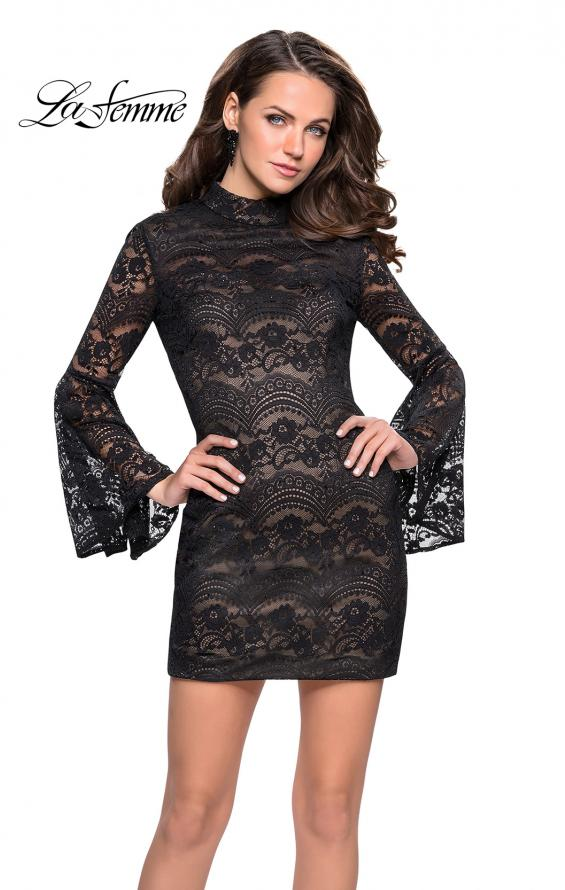 Picture of: Lace Bell Sleeve Homecoming Dress with High Neckline, Style: 26668, Detail Picture 1
