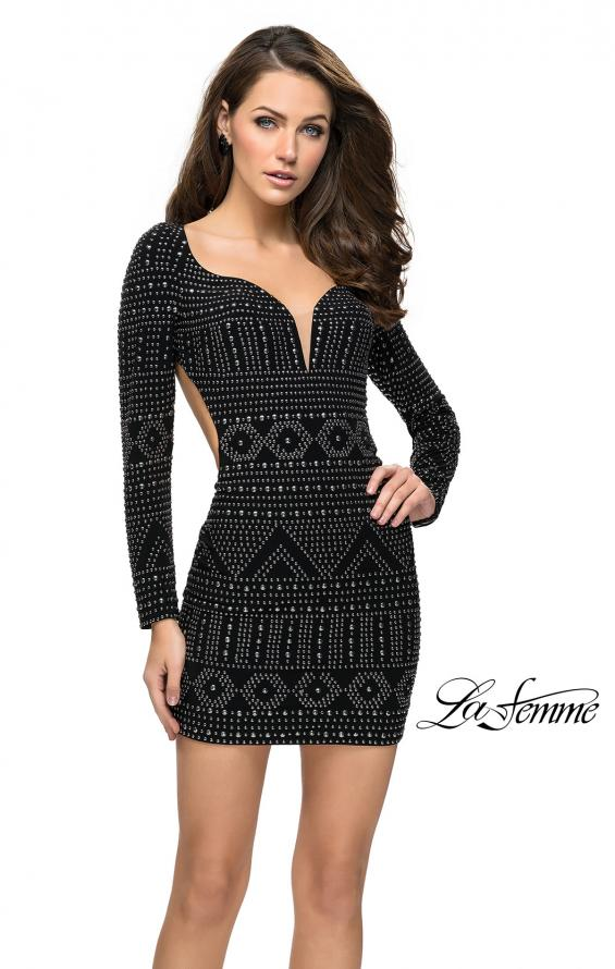 Picture of: Metallic Studded Homecoming Dress with Long Sleeves, Style: 26672, Detail Picture 1