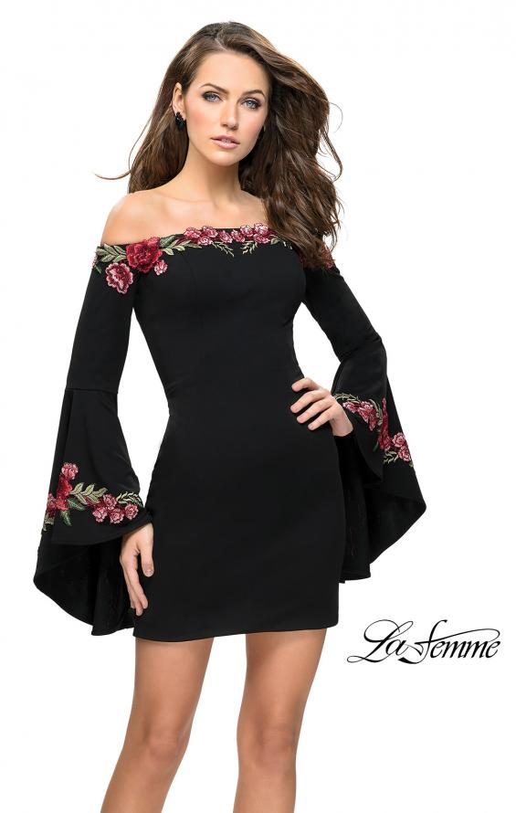 Picture of: Off the Shoulder Mini Dress with Dramatic Bell Sleeves, Style: 26674, Detail Picture 1