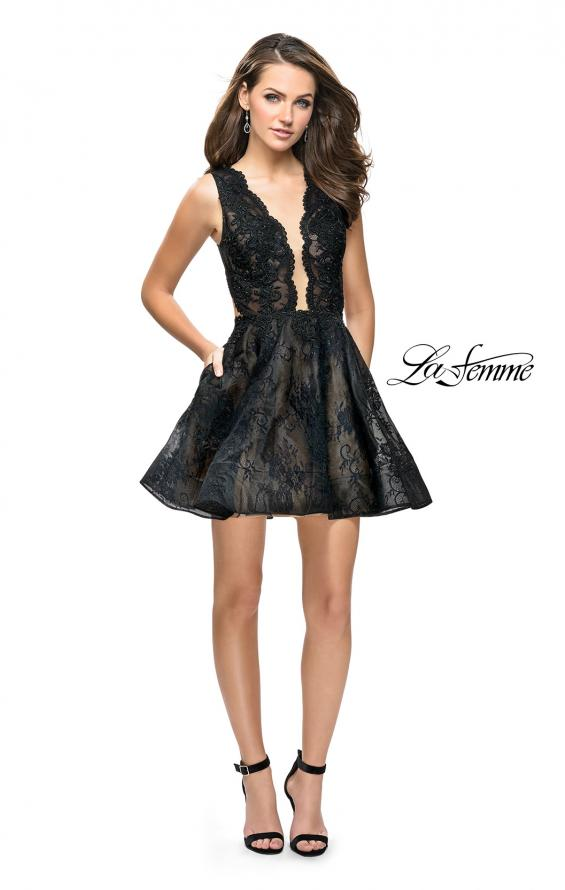 Picture of: Lace Homecoming Dress with Dramatic Plunging Neckline, Style: 26726, Detail Picture 1