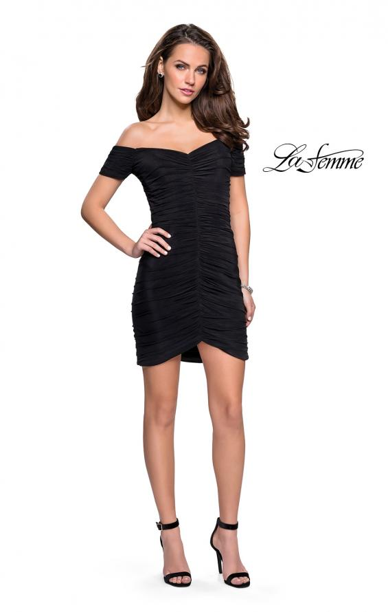 Picture of: Off the Shoulder Little Black Dress with Ruching in Black, Style: 26742, Detail Picture 1