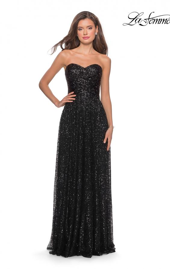 Picture of: Long Sequined Dress with Sweetheart Neckline, Style: 27879, Detail Picture 1