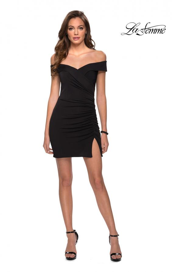 Picture of: Off the Shoulder Black Party Dress with Ruching in Black, Style: 29279, Detail Picture 1