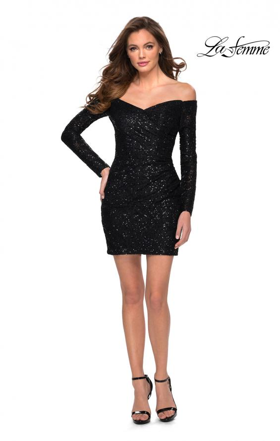 Picture of: Long Sleeve Off the Shoulder Sequin Short Dress in Black, Style: 29339, Detail Picture 1