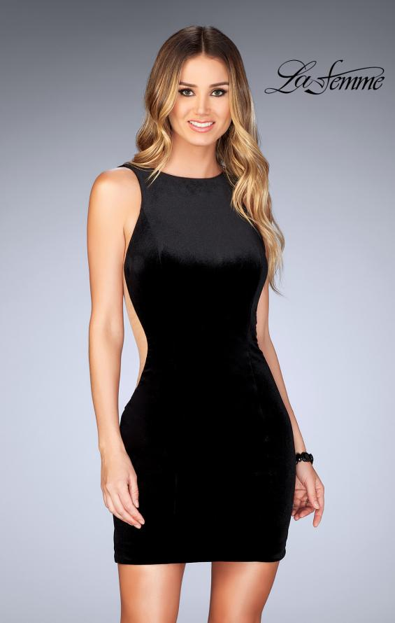 Picture of: High Neck Gown with Open Back and Illusion Sides in Black, Style: 25007, Detail Picture 2