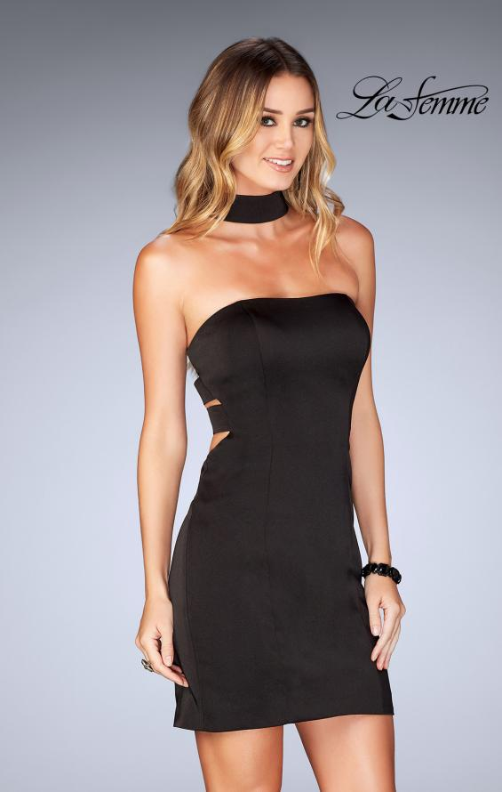 Picture of: Tight Jersey Homecoming Dress with Attached Choker, Style: 25062, Detail Picture 2