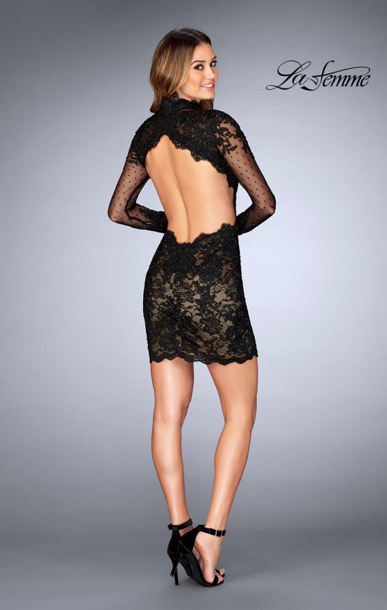 Picture of: Short Lace Dress with Sheer Scalloped Neckline, Style: 25121, Detail Picture 2