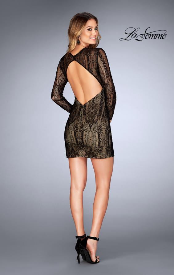 Picture of: Short Lace Dress with Long Sleeves and Open Back in Black, Style: 25289, Detail Picture 2