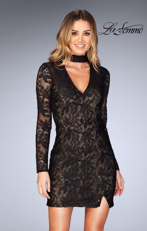Picture of: Long Sleeve Short Lace Dress with Choker in Black, Style: 25373, Detail Picture 2