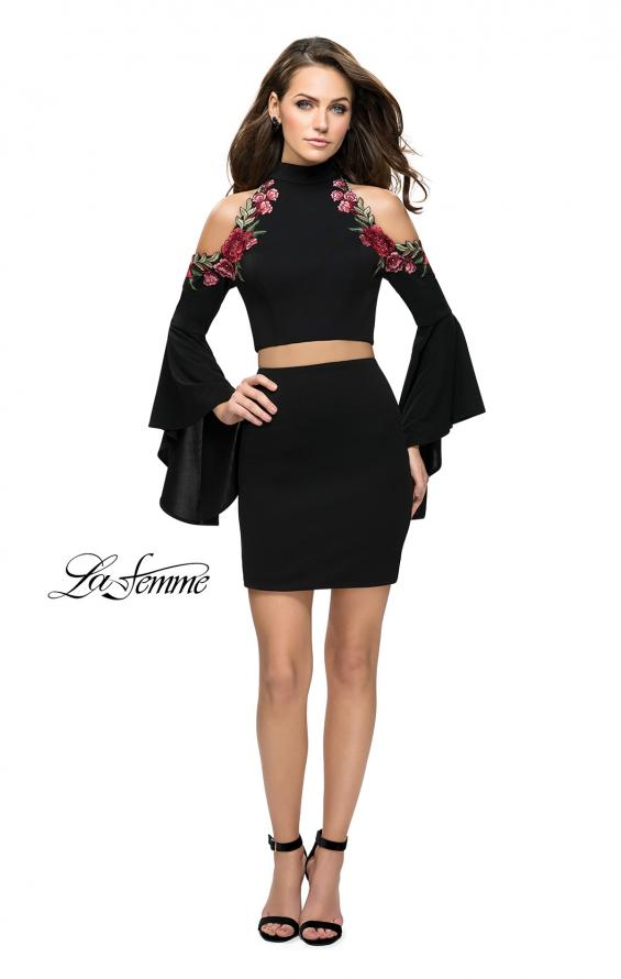 Picture of: Floral Two Piece Jersey Mini Bell Sleeve Dress in Black, Style: 26606, Detail Picture 2