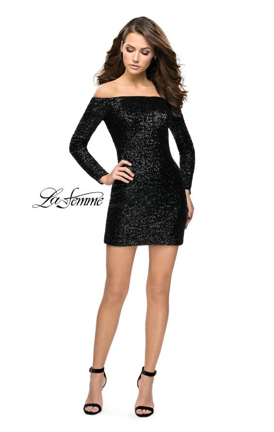 Picture of: Long Sleeve Sequined Off the Shoulder Homecoming Dress in Black, Style: 26662, Detail Picture 2