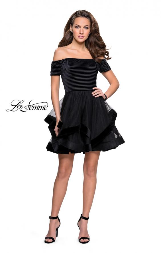 Picture of: Tulle Short Off the Shoulder Dress with Velvet Trim in Black, Style: 26751, Detail Picture 2