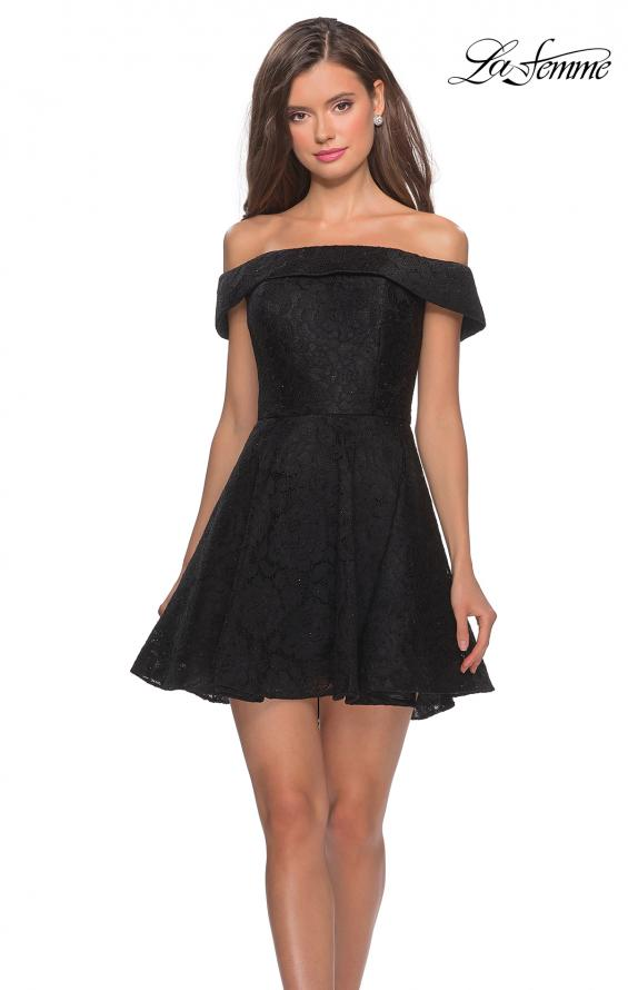 Picture of: Off the Shoulder Lace Fit and Flare Homecoming Dress in Black, Style: 28122, Detail Picture 2