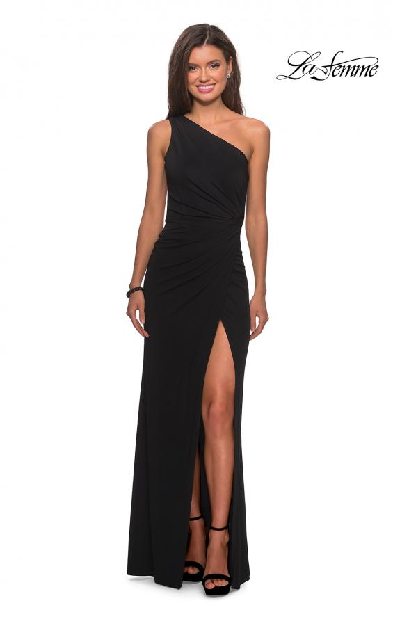 Picture of: One Shoulder Dress with Ruching and Leg Slit in Black, Style: 28135, Detail Picture 2