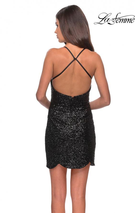 Picture of: Short Scalloped Sequined Homecoming Dress in Black, Style: 28228, Detail Picture 2