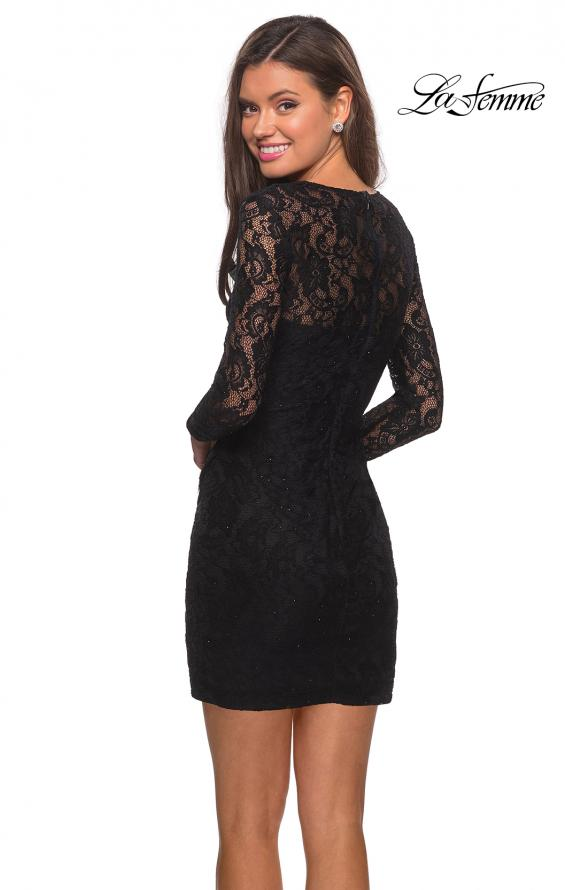 Picture of: Long Sleeve Lace Short Dress with Sheer Back Detail in Black, Style: 28232, Detail Picture 2