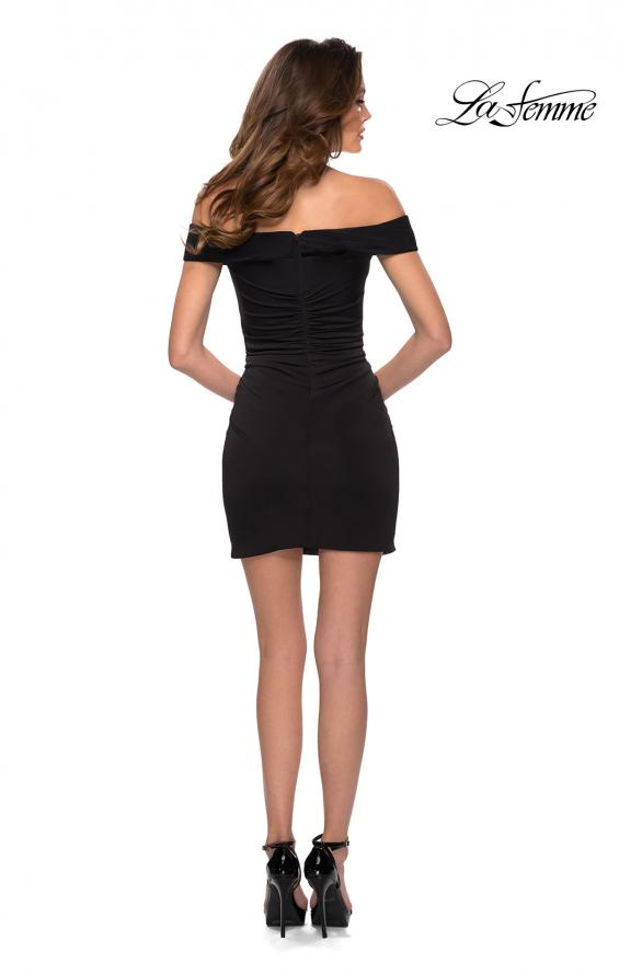 Picture of: Off the Shoulder Black Party Dress with Ruching in Black, Style: 29279, Detail Picture 2