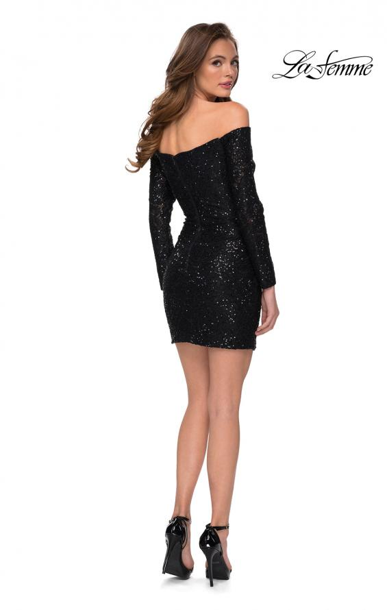 Picture of: Long Sleeve Off the Shoulder Sequin Short Dress in Black, Style: 29339, Detail Picture 2