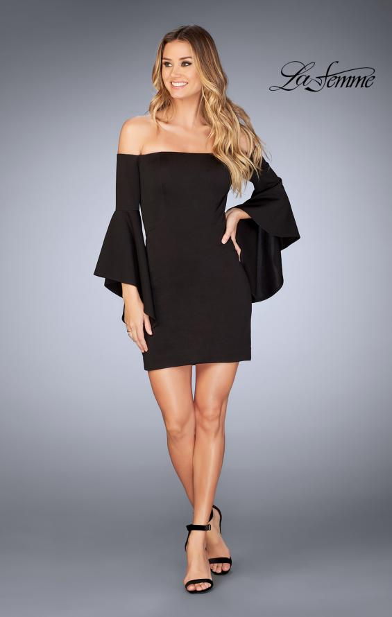 Picture of: Off the Shoulder Ruffle Sleeve Homecoming Dress in Black, Style: 25033, Detail Picture 3