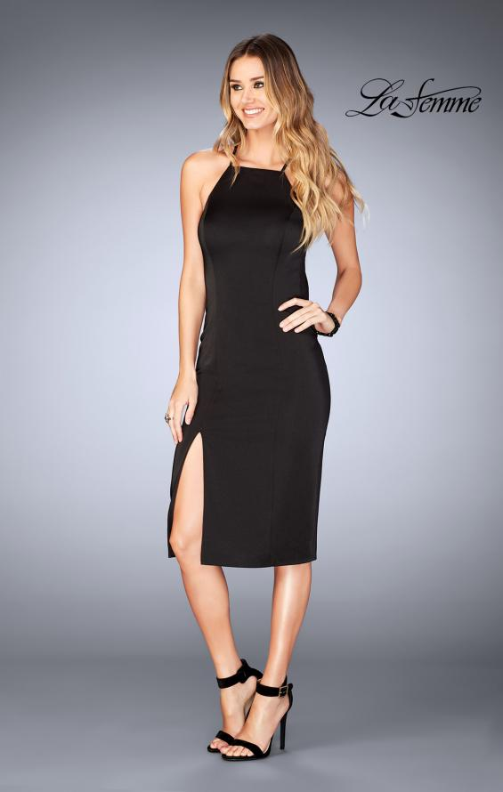 Picture of: Knee Length Jersey Evening Dress with Front Slit in Black, Style: 25083, Detail Picture 2