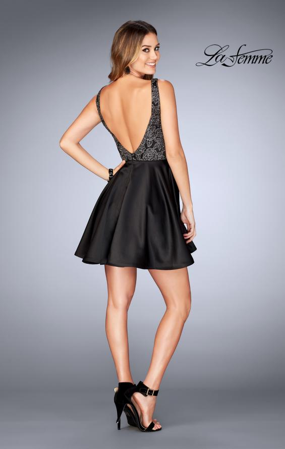 Picture of: Short Satin Homecoming Dress with Cut Outs in Black, Style: 25132, Detail Picture 3