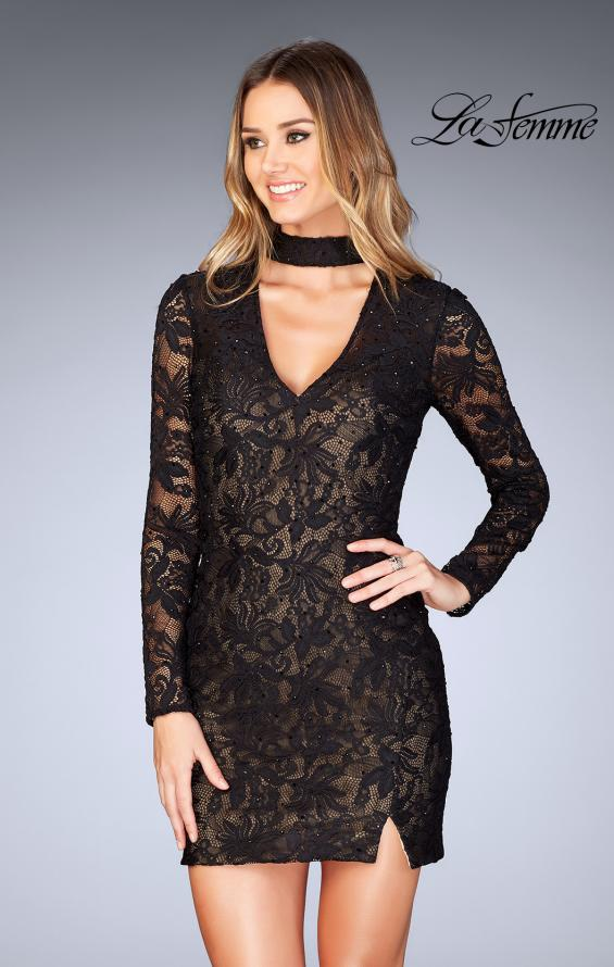 Picture of: Long Sleeve Short Lace Dress with Choker in Black, Style: 25373, Detail Picture 3